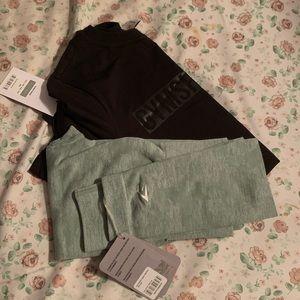Gym shark seamless green leggings + Apollo t shirt
